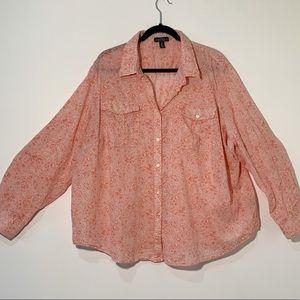 Ralph Lauren Plus Size Pink Floral Top Size 3X